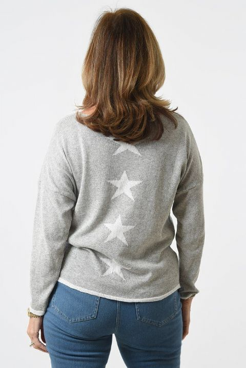 LIGHT GREY & WHITE STARS JUMPER